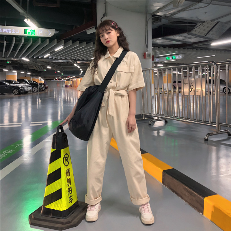 Pants Female Spring and Autumn 2019 New Korean Style of Loose Wide Leg Pants Tooling   Jumpsuit   Straps High Waist Casual Pants