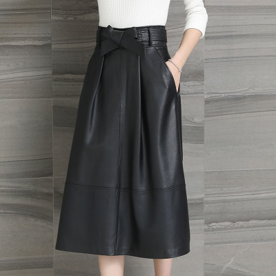 Winter Half-length Leather Skirt Women Long Sheep Leather Wrap Hip Skirt
