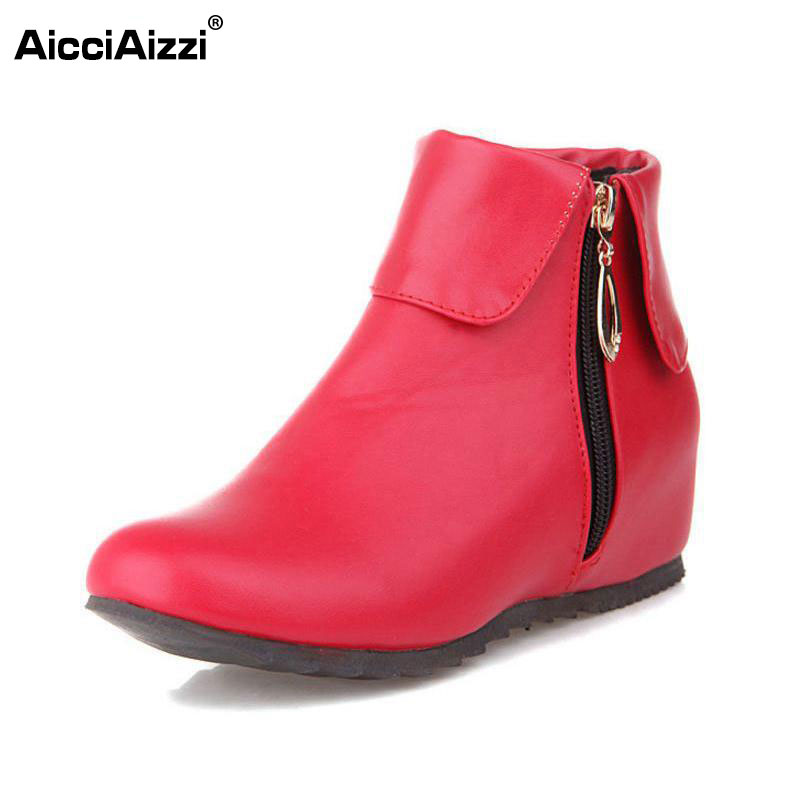 size 32-50 women flat ankle boots autumn winter warm botas sexy zipper leisure martin boot woman quality footwear shoes P21826 русалочка