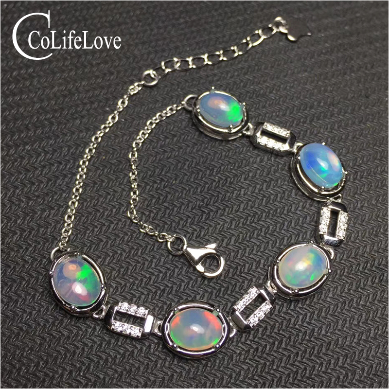 Excellent brilliance opal silver bracelet for woman 6mm*8mm natural opal bracelet 925 sterling silver opal jewelry for party gorgeous faux opal bracelet for women