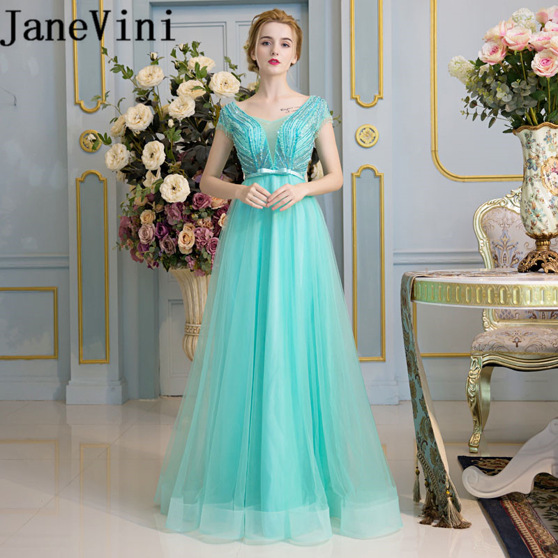 JaneVini Sexy Illusion Tulle Beaded Crystal Long   Bridesmaids     Dresses   Zipper Back A Line Floor Length Plus Size Prom Party Gowns