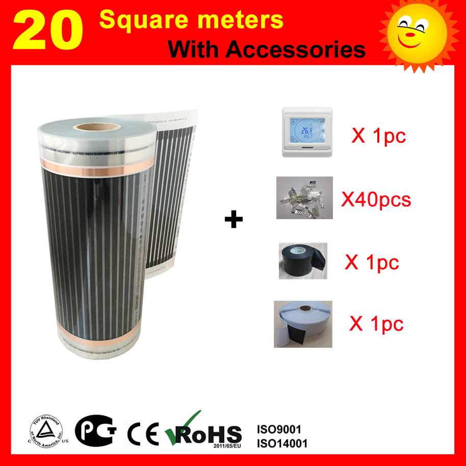 20 Square meter under floor Heating film with thermostat and accessories AC220V far infrared heater for