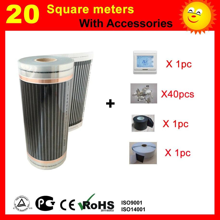 20 mètre carré chauffage au sol film avec thermostat et accessoires, AC220V infrarouge lointain chauffe-pour maison