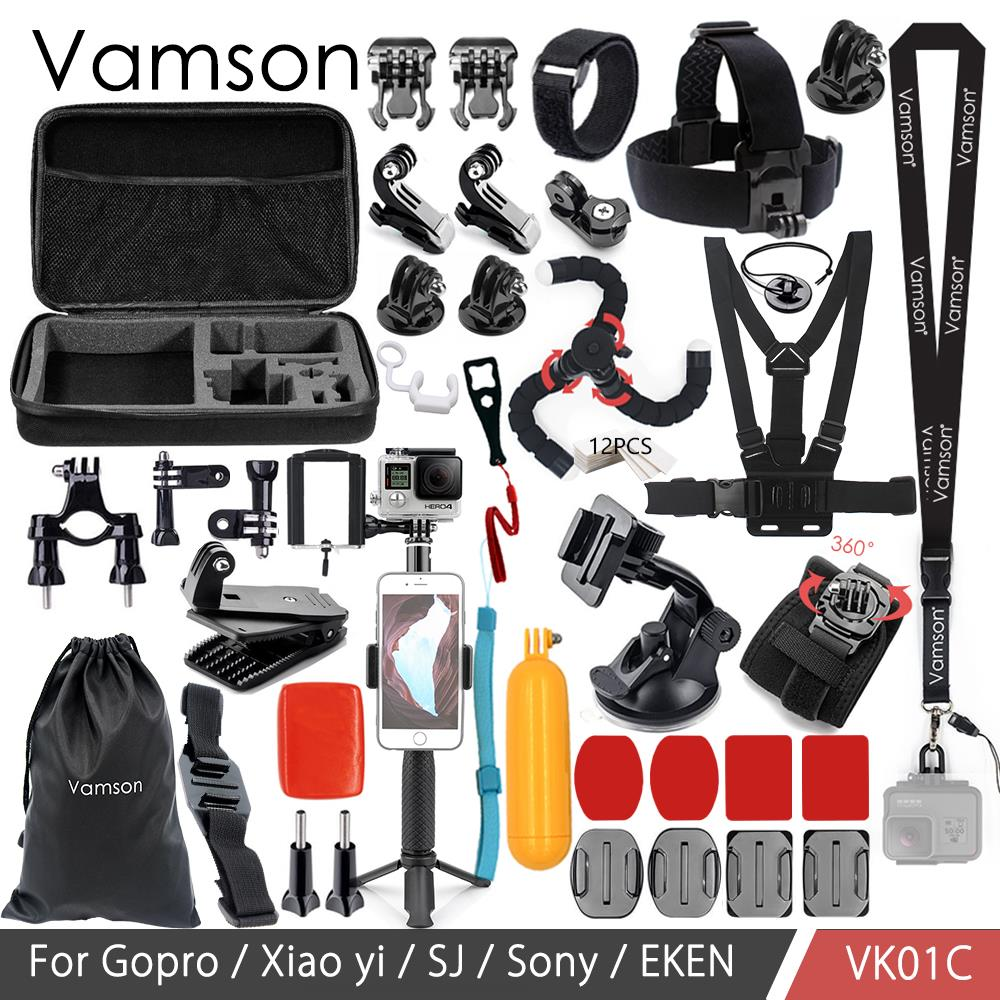 Vamson pour Gopro hero 7 6 accessoires set pour gopro kit montage pour SJ4000 hero 4 3 2 1 Noir pour SJCAM M10 pour SJ5000 cas VK01