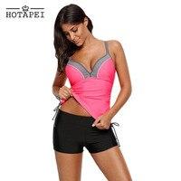 Hotapei 2018 Plus Size Tankini Swimsuits Pink Tankinis Top with Shorts Swimwear LC410451 Women Sexy Bikini Set Bathing Suit XXXL