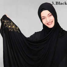 Plus size muslim hijabs spandex cotton jersey turban hijabs scarf cotton shawl soft embroidered muslim head covering muslim