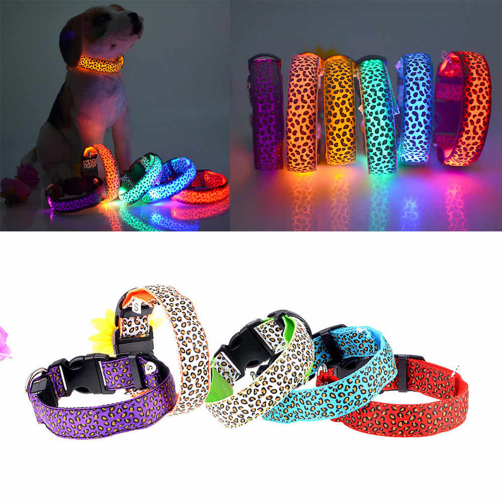 Nylon LED Pet Dog Collar Night Safety Flashing Glowing Collar Leash for Dogs Luminous Fluorescent Pet Supplies Drop Ship #R5