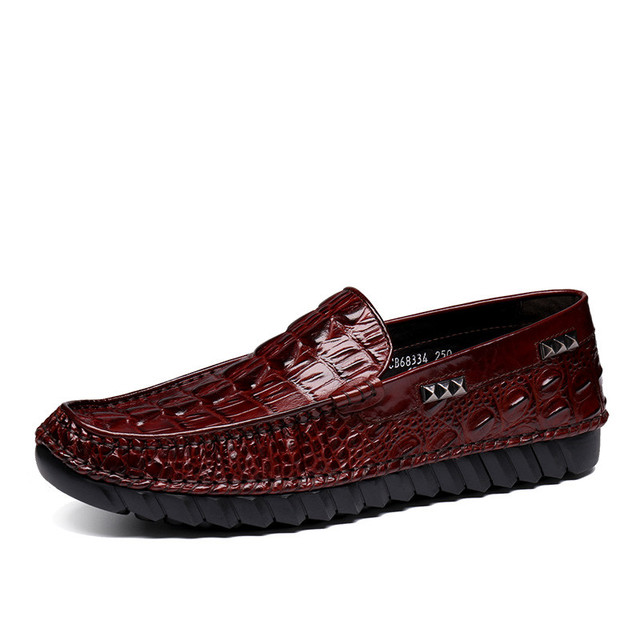 Crocodile Grain Men¡¯s Casual Genuine Leather Fashion Slip-On Loafers Shoes