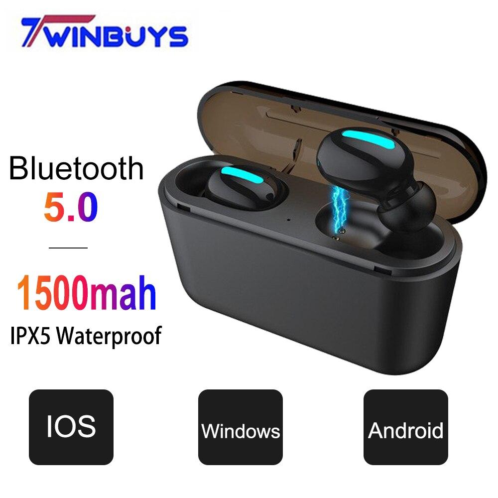 TWS Bluetooth 5.0 earphones Wireless headphone HiFi Stereo Earbud Sport headset with MiC Charging Box For xiaomi iphone samsung bluetooth