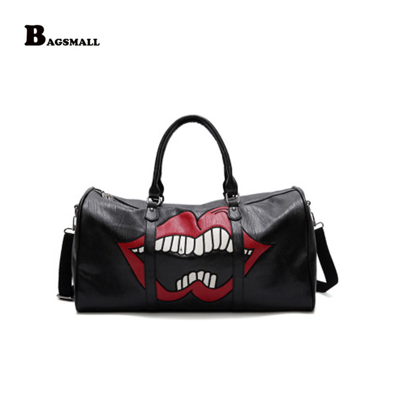 BAGSMALL Lips printing Large-capacity travel ladies handbag new fashion personalized shoulder Messenger bag genuine leather personalized fashion sexy red lips face moon stars mini box ladies handbag shoulder bag totes messenger bag flap
