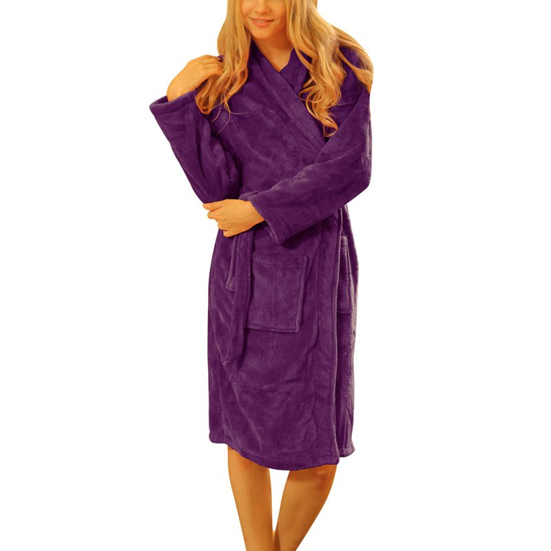 Best Selling Winter Women Warm Loose Coral Fleece Long Night-Robe Sleepwear Shawl Collar ...