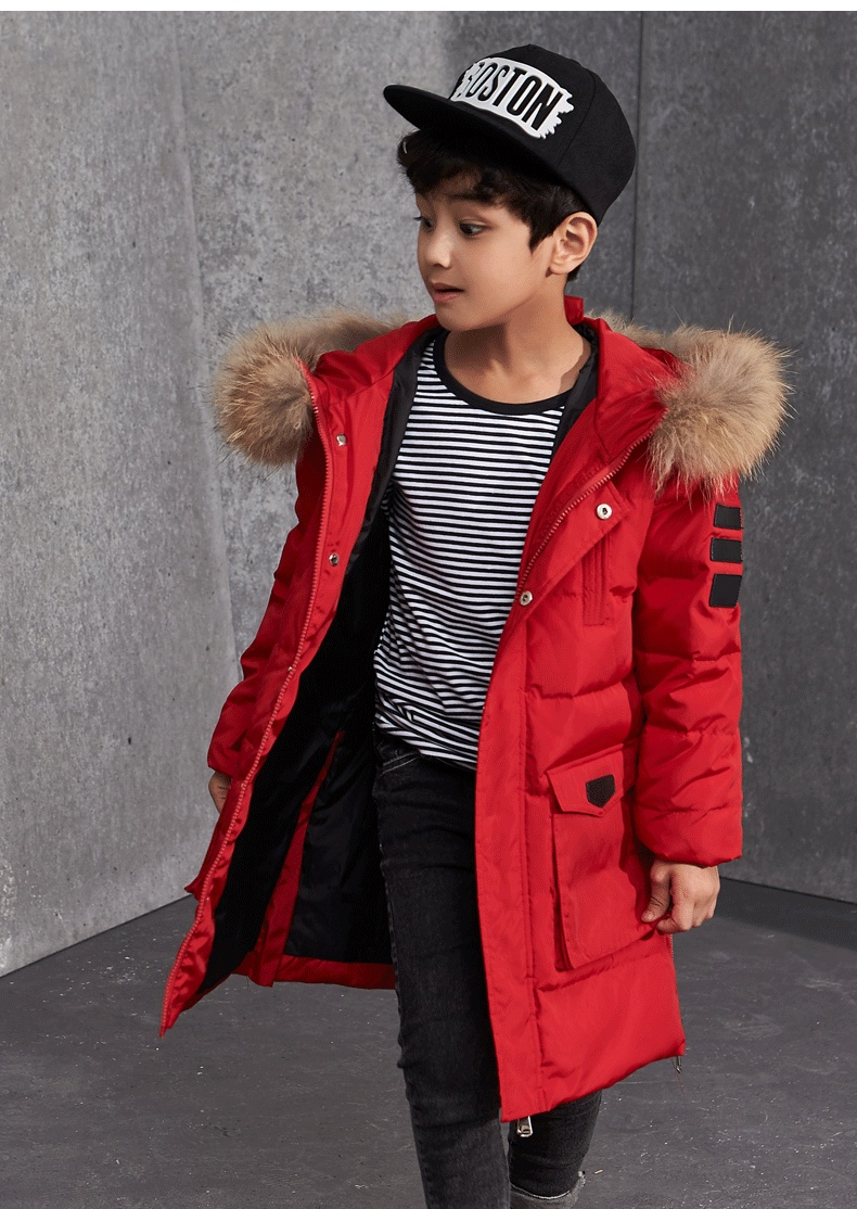 Boys Winter Jackets Fur Hooded Teenage Boys Winter Coats Children Duck Down Jackets Kids Outerwear for Age 8 9 10 12 14 15 Year buenos ninos thick winter children jackets girls boys coats hooded raccoon fur collar kids outerwear duck down padded snowsuit