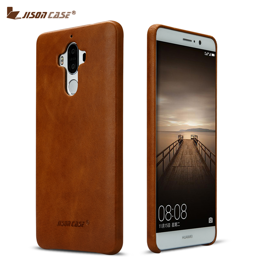 imágenes para Caja Del Teléfono para Huawei Mate 9 Contraportada Jisoncase Genuino de cuero de Lujo Magnética Adsorción Cubierta de Piel para Huawei Mate 9 caso