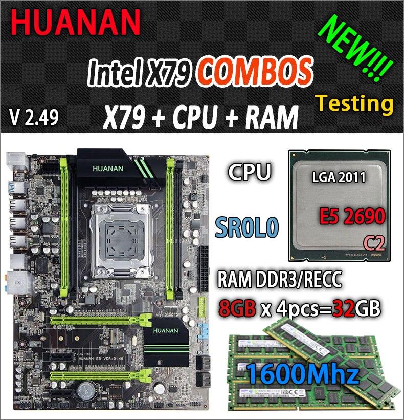 HUANAN d'oro V2.49 X79 scheda madre LGA2011 ATX combo E5 2690 C2 SR0L0 4x8g 32 gb 1600 mhz USB3.0 SATA3 PCI-E NVME M.2 SSD