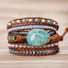 2019 Unique Punk Bracelets Women Wrap Bracelets Natural Stones 5 Layers Leather Cuff Bracelet Femme Bracelets Gifts dropshipping(China)