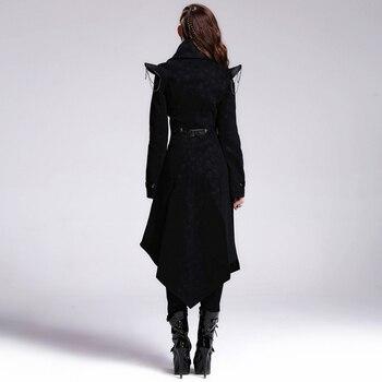 Devil Fashion Heavy Punk Rock Asymmetric Long Jacket Coats for Women Steampunk Black Autumn Winter Cotton Overcoat Windbreakers 4