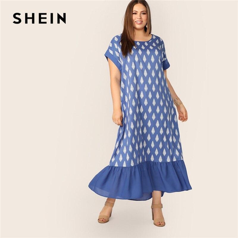 Шеин плюс растения и полосатый принт Flippy Hem платье женское скромное синее летнее короткое платье с заниженной талией летучая мышь рукав ЦЕЛ...