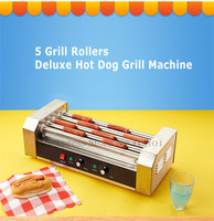 Hot Dog Roller Grilling Machine Stainless Steel Commercial Quality Hotdog Maker with 5 Grill Rollers