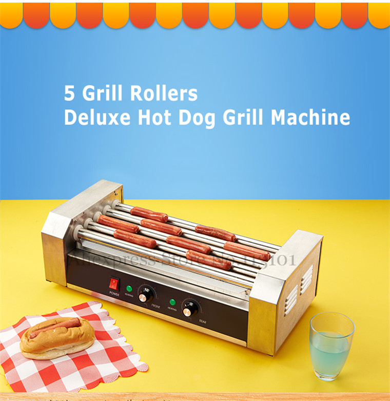 Hot Dog Roller Grilling Machine Stainless Steel Commercial Quality Hotdog Maker with 5 Grill Rollers hot dog grill machine roast sausage grill maker stainless steel hotdog maker cooker with 5 rollers