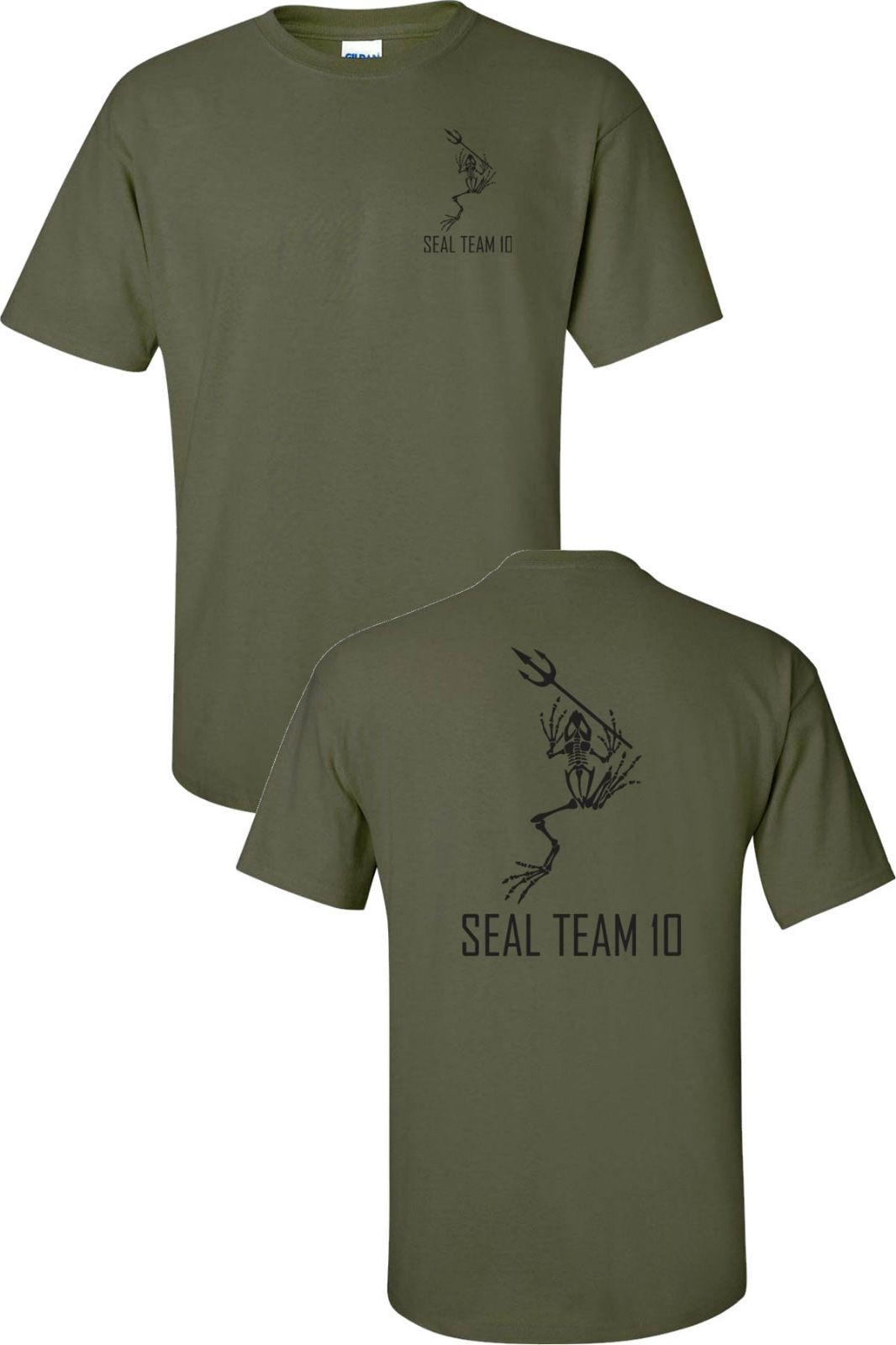 Camiseta de algodão de moda navy seals team 10 esqueleto sapo com lança impressa frente para trás t camisa masculina legal camisetas tops streetwear