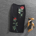 Black Skirt Rose Flower Printed  Womens Midi Knee-Length High Waist Pencil Skirts Slim Bodycon Vintage Office Wear faldas cortas