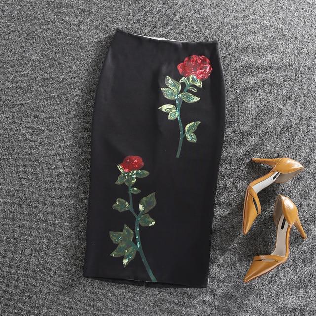 Black Skirt Rose Flower Printed  Womens Midi Knee-Length High Waist Pencil Skirts Slim Bodycon Vintage Office Wear faldas cortas