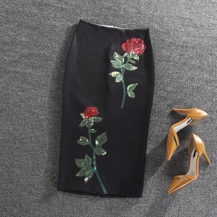 Falda negro Rosa flor impreso Womens MIDI rodilla-longitud cintura alta  lápiz Faldas Slim bodycon vintage Oficina desgaste faldas cortas db29ac016a1b