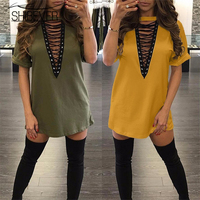 SHIBEVER Summer fashion women casual bandage party sexy dress plus size straight sexy & club dresses 2017 LD197