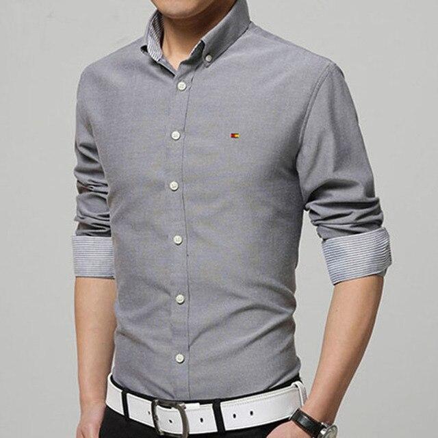 2016 мужская с длинными рукавами футболки Тонкий рубашки Тонкий многоцветный Весна и Осень железа морщин рубашки лацкан сплошной цвет печать М-5XL