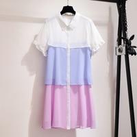 Women's Dress Summer Blouse Shirt Chiffion Dress Slim Korean Patchwork Cupcake Dress 2019 Womens Clothes 3xl 6xl Maxi Dresses