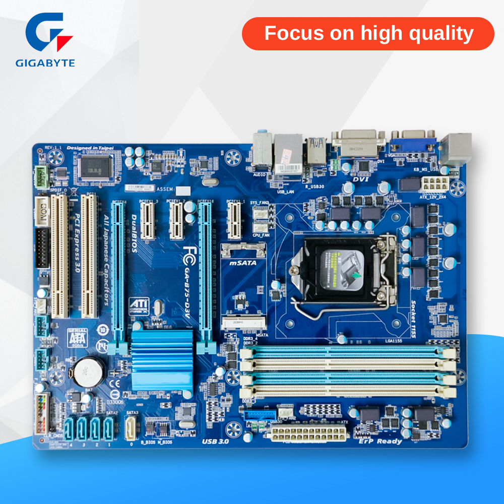 Gigabyte GA-B75-D3V Original Used Desktop Motherboard B75-D3V B75 Socket LGA 1155 i3 i5 i7 DDR3 ATX On Sale professional pat 580 5 8ghz hdmi wireless av sender tv audio video sender hdmi transmitter receiver for dvd dvr stb iptv