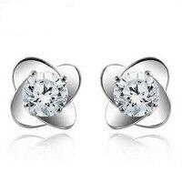 2016 New Flower Huge Zircon Crystal 925 Sterling Silver Female Party Stud Earrings Wholesale