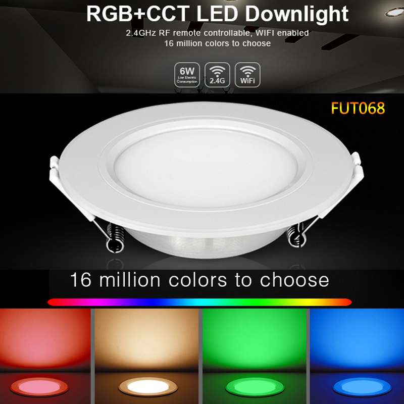 FUT068 6W RGB+CCT LED Downlight AC100-240V Round Smart Led panel light dimmable compatible APP/2.4G Hz RF <font><b>FUT092</b></font> remote control image