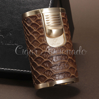 COHIBA Pillar Emulational Snake Skin Pattern Table Lighter Butane Gas Windproof Powerful 4 Torch Jet Flame