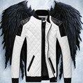 Новый Дизайн мужская теплый верхняя одежда Зима Осень ИСКУССТВЕННАЯ Кожа Сращивание пальто Черный Белый Мода Тонкий Плед локомотив Куртка