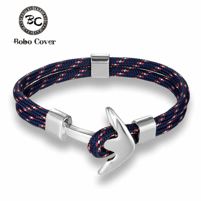 New Fashion Anchor Bracelets Men Charm Survival Rope Chain Paracord Bracelet Male Wrap Metal Sport Sliver Hooks Lucky Navy Style