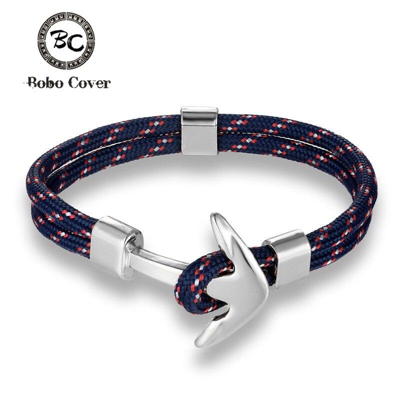 New Fashion Anchor Bracelets Men Charm Survival Rope Chain Paracord Bracelet Male Wrap Metal Sport Sliver