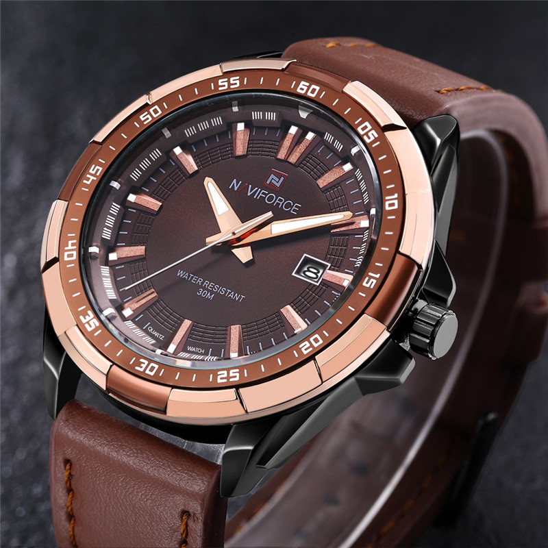 NAVIFORCE Men Watch Military Sport Mens Watches Top Brand Luxury Army Business Date Leather Band Quartz Male Clock Gift Box 9056