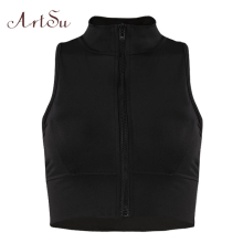 8d7279f23ea66 ArtSu Fashion Workout Sleeveless Crop Top Women Zipper Turtleneck Tank Tops  Tees Summer Sexy Fitness Vest