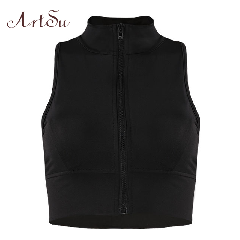 ArtSu Fashion Workout Sleeveless Crop Top Women Zipper Turtleneck Tank Tops Tees Summer Sexy Fitness Vest Top ASVE20332