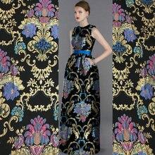 metallic yarn dyed brocade jacquard fabric,French women import coat tissu polyester fabric,embossed palace flower brocade fabric