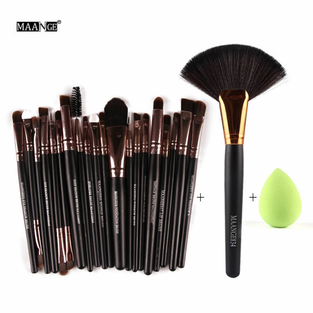 22pcs Makeup Brushes Set Pro Foundation Powder Blush Brush Eyeliner Eyebrow Eyelash Lips Contour brushes&Cosmetic Sponge Puff hot 2017 world of warcraft wallets cartoon anime purse gift for young students pu leather dollar bags casual short wallet