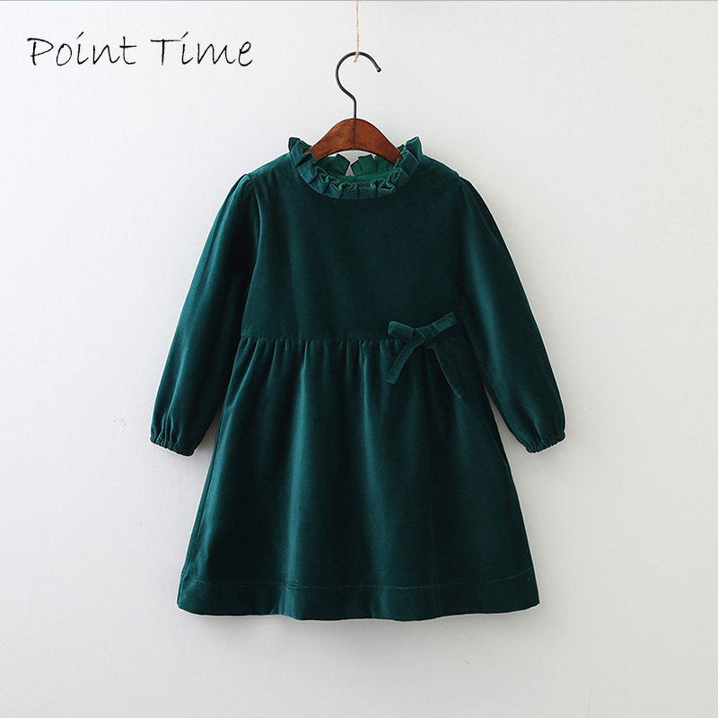 Children Girls Spring Models Cotton Velvet Bow Girls Dress Children Long Sleeved Wood Ear Collar Autumn Baby Girls Kids Tops-in Dresses from Mother & Kids