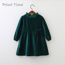 Children Girls Spring Models Cotton Velvet Bow Dress Long Sleeved Wood Ear Collar Autumn Baby Kids Tops