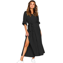 new Women V Neck Roll Sleeve Side Split Long Maxi Dress Ladies Casual Solid Loose Long Sleeve Linen Beach Pleated Dress With Bel elegant style v neck side pleated design long sleeve cotton blend dress for women