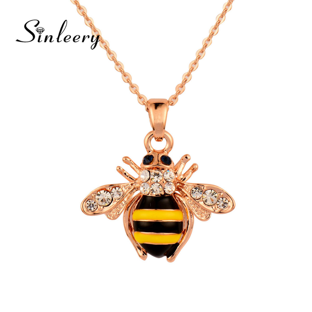 SINLEERY Cute Solid Little Bee Pendant Animal Necklace for Women Rose Gold Color Brand Jewelry XL399 SSB