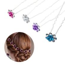 NEW Rhinestone Rose Flower Hair Clips Hairpin  Hair Jewelry Accessories For Women Girls Wedding Bridal