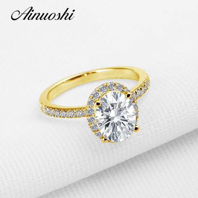Aliexpresscom Buy AINUOSHI Yellow Gold Halo Ring 10K Solid Gold