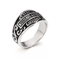 Europe And The United States Retro Domineering Locomotive Titanium Steel Ring Trend Of Personality Rock Punk