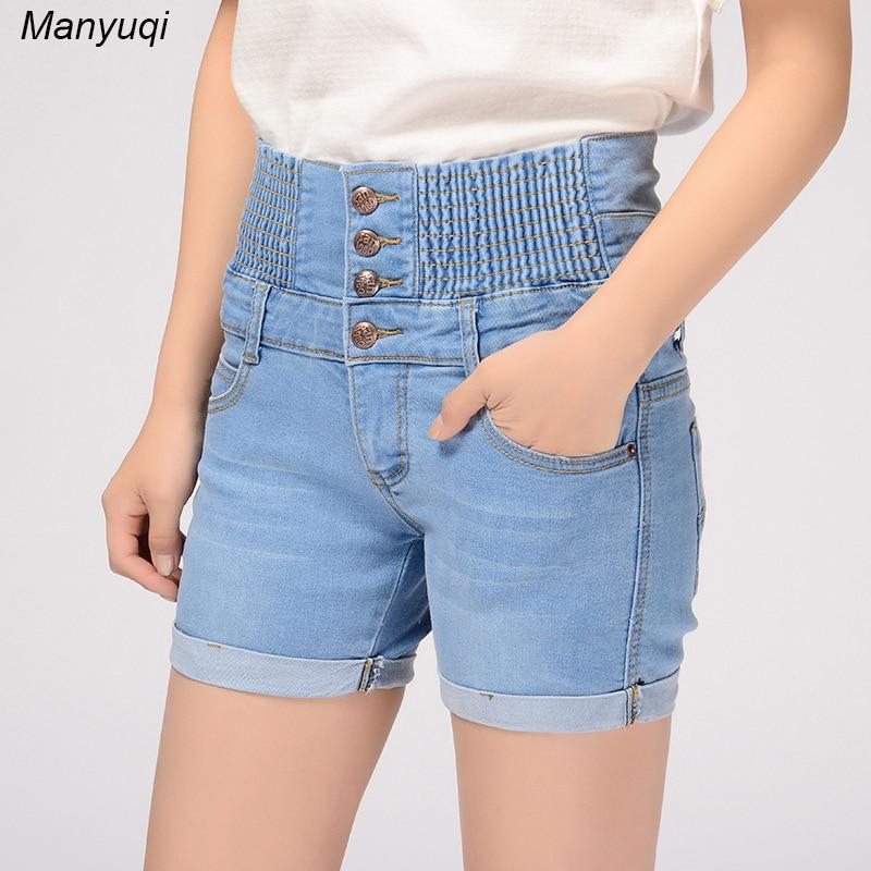 Yaz yeni şort qadınlar jeans düz bel cılız denim - Qadın geyimi - Fotoqrafiya 1